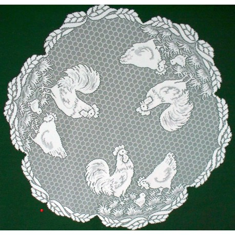Table Topper Rooster 30 Inch Round White Heritage Lace