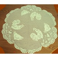 Table Topper Rooster Ivory 30 Inch Round Heritage Lace