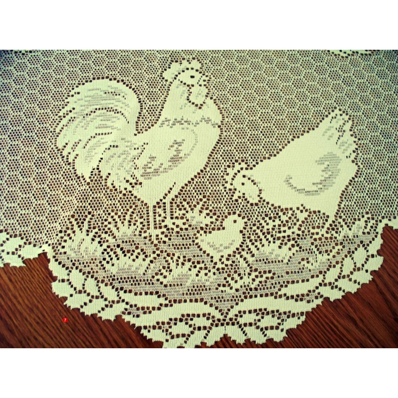 ... Table Topper Rooster Ivory 30 Inch Round Heritage Lace