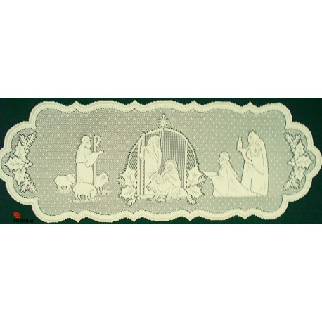 Silent Night 14x41 Ivory Table Runner Heritage Lace