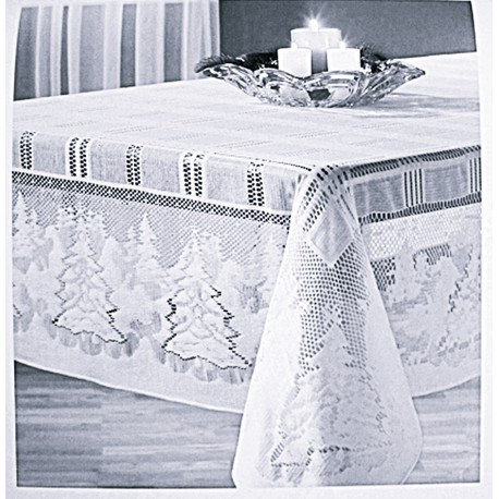 Tablecloths Winter's Eve 60x84 Rectangle White Oxford House