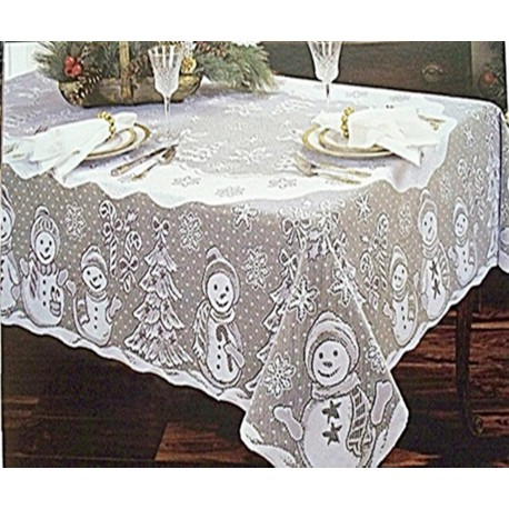 Tablecloths Snowman Family 60x84 Rectangle White Heritage Lace