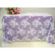 Tablecloth Floral Rose Lace Table Linens White 60x84