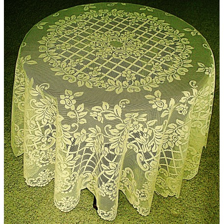 Tablecloth Trellis Rose 70 Inch Round Ivory Oxford House