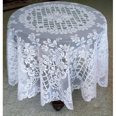 Tablecloth Trellis Rose 70 Inch Round White Oxford House