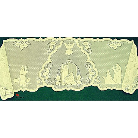 Mantel Scarf Silent Night 20x90 Ivory Heritage Lace