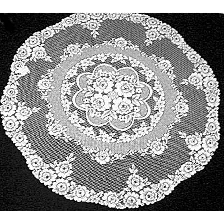Table Topper Round Victorian Rose 43 R White Heritage Lace