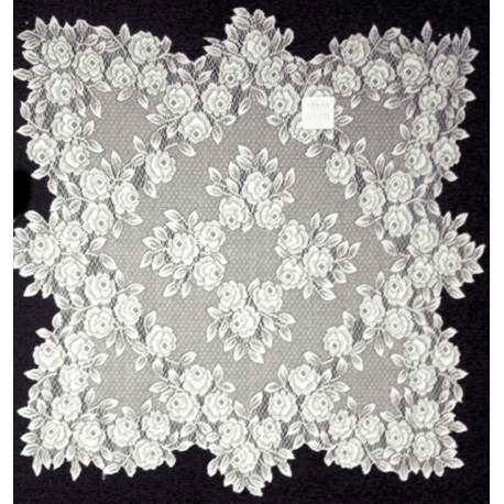 Heritage Lace Tea Rose Table Topper 30 x 30 White