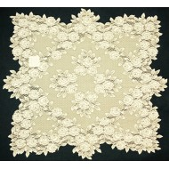 Tea Rose Table Topper 30 x 30 Ecru Heritage Lace