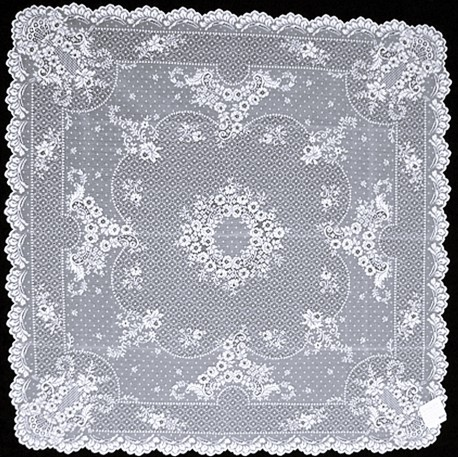 Floret White 36x36 Table Topper Heritage Lace