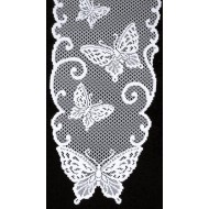 Table Runner Butterflies 12 x 54 White Heritage Lace
