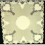 Table Topper Vintage Rose 36x36 Ecru Heritage Lace
