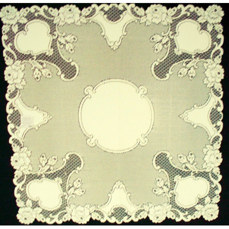 Table Topper Vintage Rose 36x36 Ecru Heritage Lace