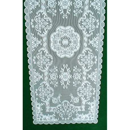 Table Runner Grantham-Filigree 14x36 White Heritage Lace