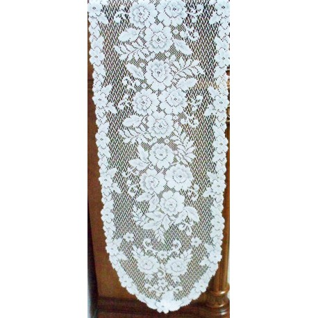 Table Runner Victorian Rose 13x72 White Heritage Lace