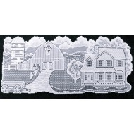 Country Homestead 15x35 White Table Runner Oxford House