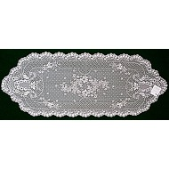 Table Runner Floret 14x38 White Heritage Lace