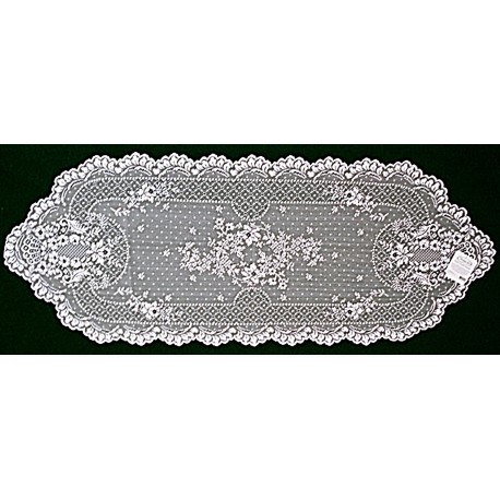 Floret 14x38 White Table Runner Heritage Lace