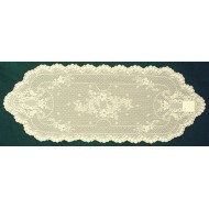 Table Runner Floret 14x38 Ecru Heritage Lace