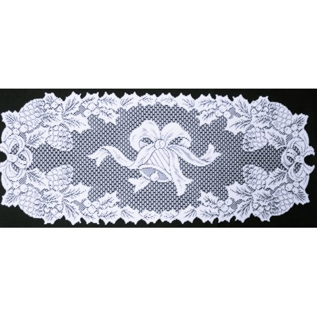 Holly Bells 14x36 White Table Runner Oxford House