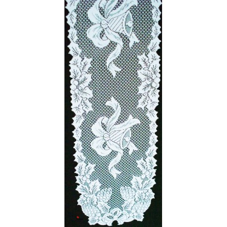 Holly Bells 14x88 White Table Runner Heritage Lace