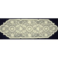 Table Runner Medallion 14x46 Ecru Heritage Lace