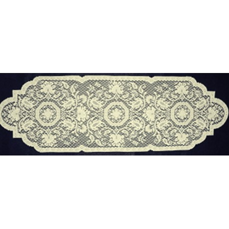 Medallion 14x46 Ecru Table Runner Heritage Lace