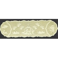 Nativity 14x52 Ivory Table Runner Heritage Lace
