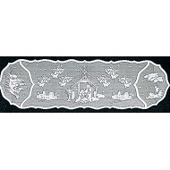 Table Runner Nativity 14x52 White Heritage Lace