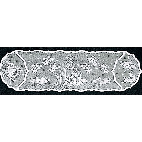 Nativity 14x52 White Table Runner Heritage Lace