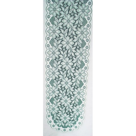 Poinsettia 13x56 White-Green Table Runner Oxford House