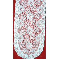 Poinsettia 13x40 White/Red Table Runner Oxford House