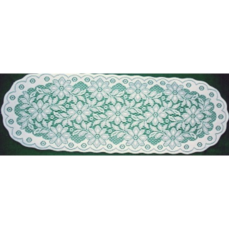 Poinsettia 13x40 White-Green Table Runner Oxford House