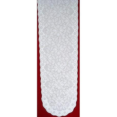 Poinsettia 13x76 White/White Table Runner Oxford House