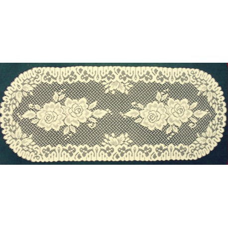 Rose 15x36 Ivory Table Runner Heritage Lace