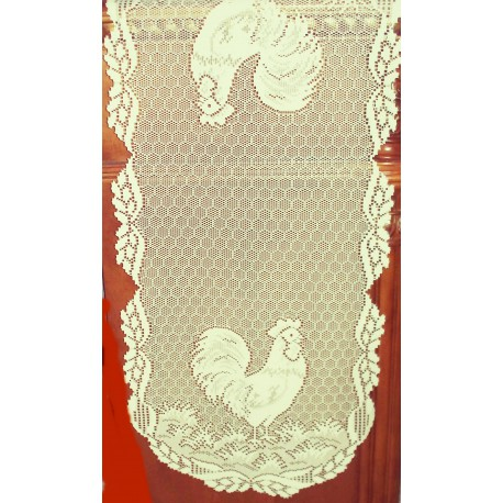 Rooster 14x34 Ecru Table Runner Heritage Lace