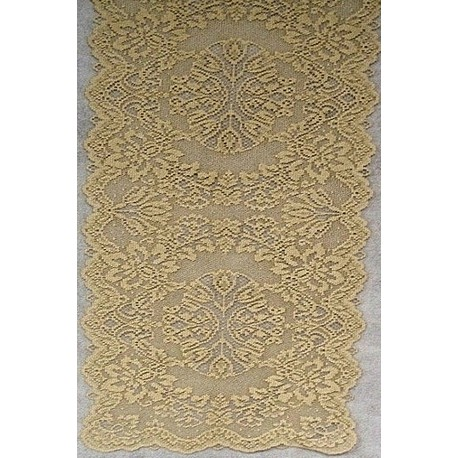 Table Runner Savoy 14x36 Antique Gold Heritage Lace - Elegance of Lace Boutique