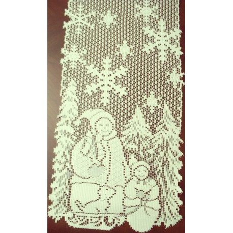 Snow Family 11x44 Ivory Table Runner Heritage Lace