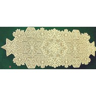 Table Runner Snowflake 14x36 Ivory/Gold Metallic Oxford House