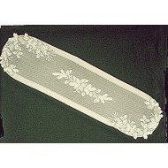 Table Runner Winter Greens 14x58 Ecru Heritage Lace