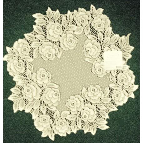 Tea Rose 15 Inch Round Ecru Doily Set Of (2) Heritage Lace