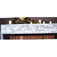 Mantel Scarf Sleigh Ride 20x96 White Heritage Lace
