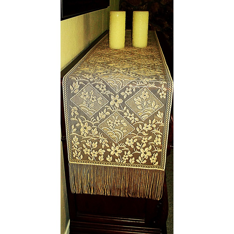 Table runner chantilly gold 14x102 heritage lace for 102 table runners