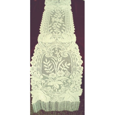 Westminister Floral 13x84 Hint Of Ivory Lace Table Runner Oxford House NWOT