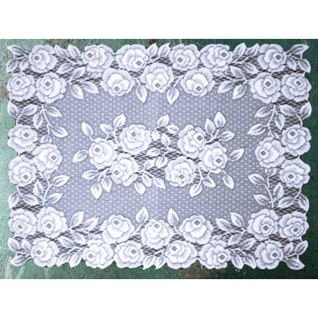 Placemat Rose 14x20 White Set Of (4) Heritage Lace
