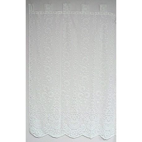 Curtain Panel Daisy Medallion Pattern 62x63 White Tab-Style Oxford House