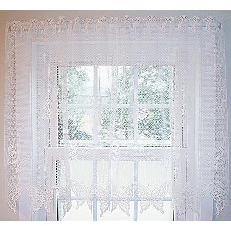 Curtain Tier Butterflies 60x30 White Heritage Lace