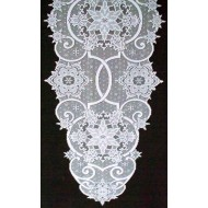 Table Runner Snowflake 19x65 White Heritage Lace