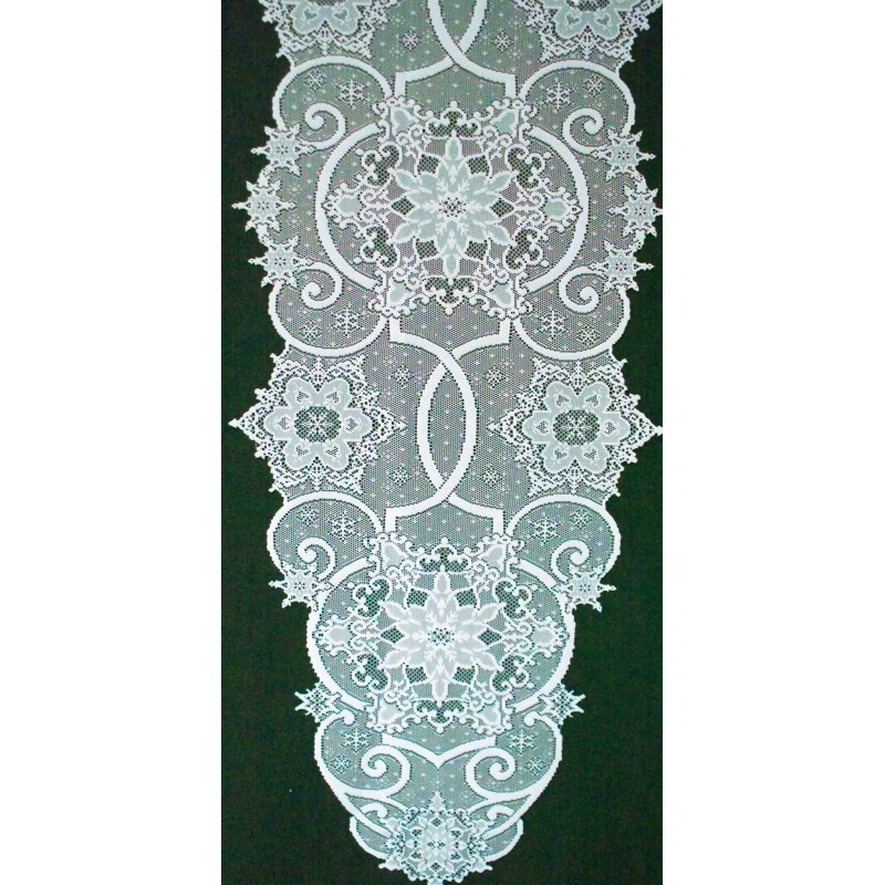 Attirant ... Table Runner Snowflake 19x65 White Heritage Lace