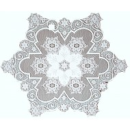 Table Topper Snowflake 47 Inch Round White Heritage Lace